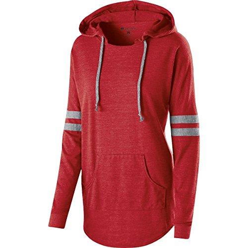 Holloway Sportswear Juniors Oversized Hooded Pullover T-Shirt. 229390 Vintage Scarlet / Vintage Grey 2XL