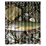 Fly Fishing Shower Curtain Brook Trout Fly Fishing Custom Shower Curtain 60