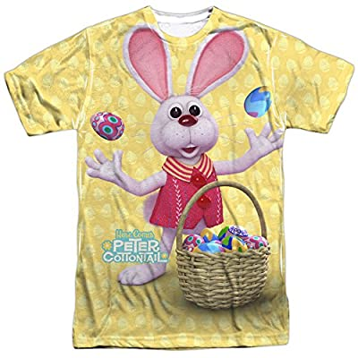 Here Comes Peter Cottontail Animated Easter Bunny Adult 2-Sided Print T-Shirt
