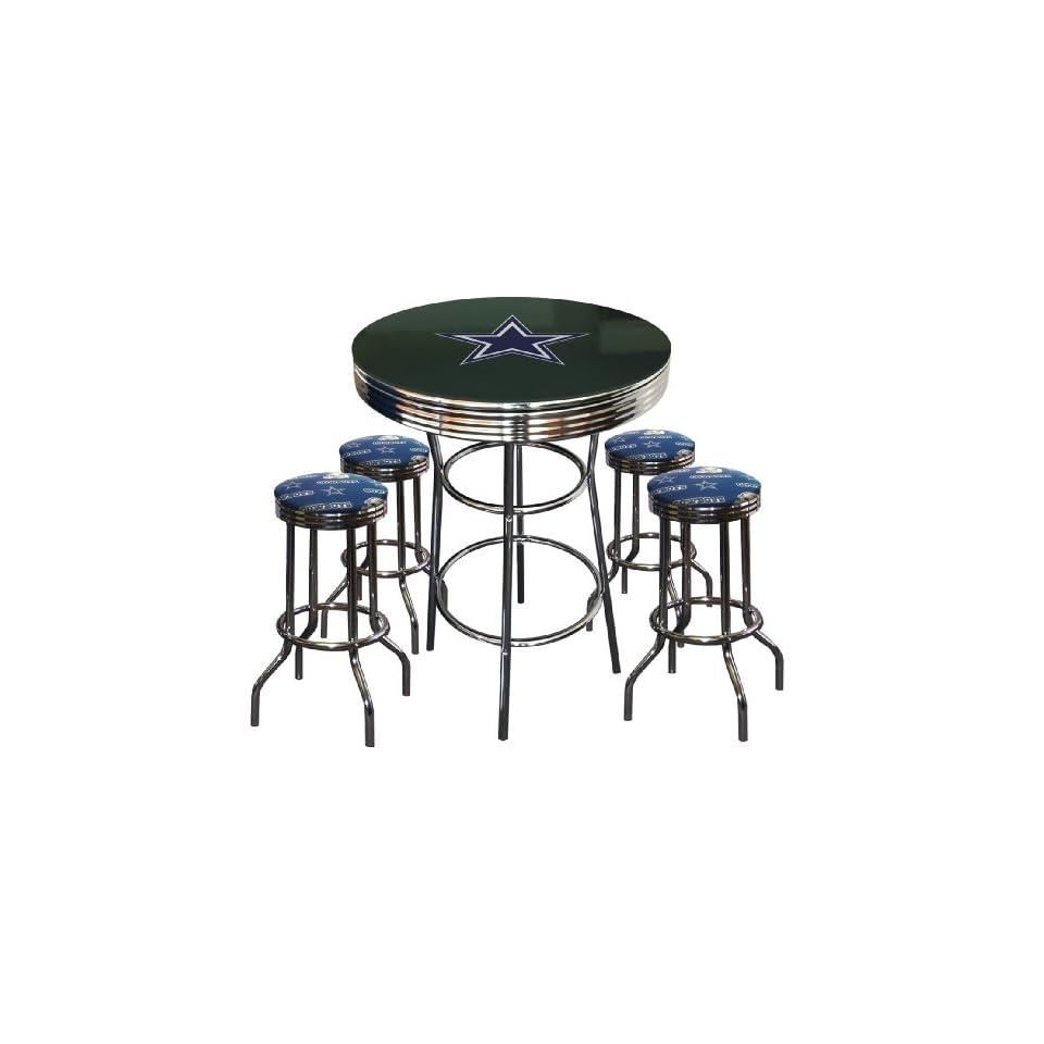 Dallas Cowboys Logo Glass Top Chrome Bar Pub Table Set with 4 Swivel Bar Stools   Home Bars