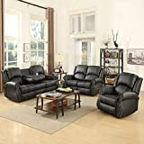 Mecor 3 Piece Sofa Set, Bonded Leather Gold Thread Reclining Living Room Furniture, 3-Seat Sofa, Loveseat and Recliner Chair/Cup Holder (Black)