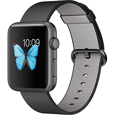 Apple Watch Sport 42mm Space Gray Aluminum Case Black Woven Nylon Band (Certified Refurbished)