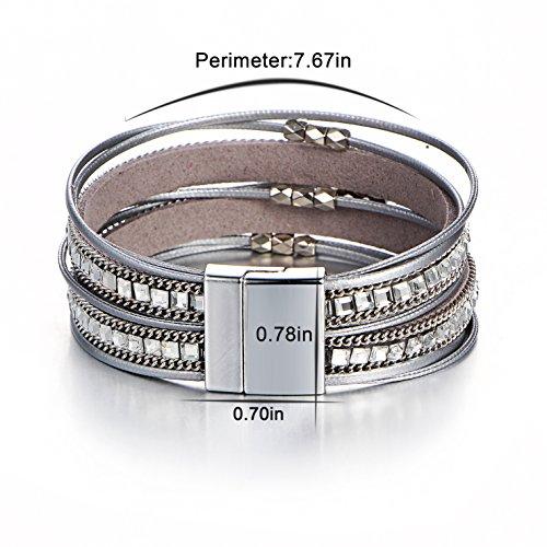 FINETOO Grey Wrist Wrap Around Crystal Rhinestone Leather Boho Multilayer Bead Bracelet Gifts for Women and Girls