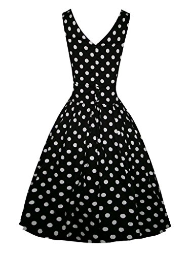 Eyekepper Volver retro de las mujeres V de los lunares de la vendimia de 1950 vestido de cóctel Negro