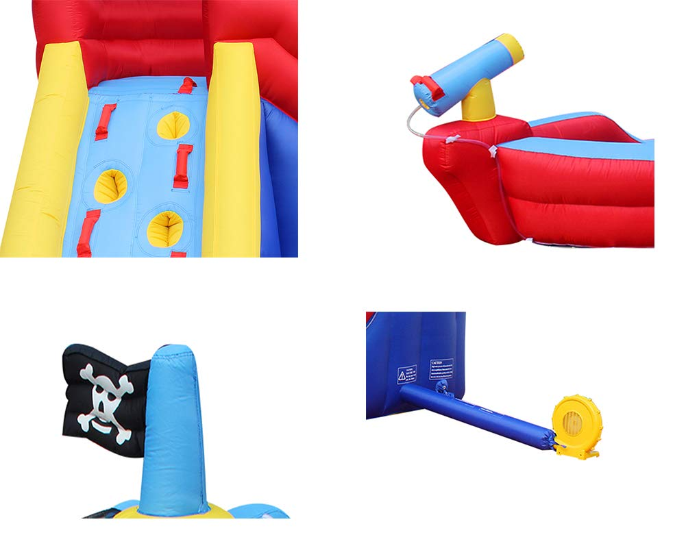 RETRO JUMP Inflatable Pirate Boat Bouncy Water Slide with Blower Climbing Wall Water Park for Kids by RETRO JUMP (Image #4)