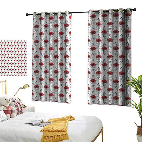 Warm Family Eclipse Curtains Tattoo,Red Poppy Flowers with Geometric Details Arrows and Circles Watercolor Boho Fashion,Multicolor 72