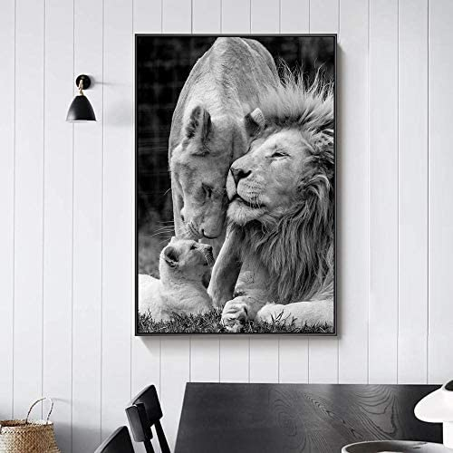 SLQUIET Rahmenlose afrikanische L/öwenfamilie Schwarz-Wei/ß-Leinwand Kunstplakat und Druck Tier Leinwand Wandbild Dekoration Druck Leinwand Malerei 30x45cm ohne Rahmen