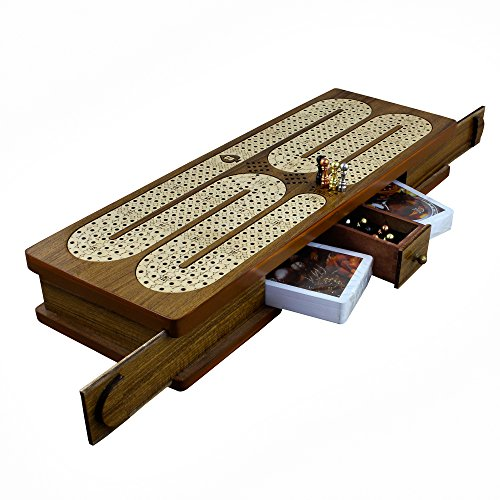 4 Track Cribbage Board Card Game Set with 12 Metal Pegs, 2 Decks Of Cards, 12 Metal Pegs With Storage by RoyaltyRoute