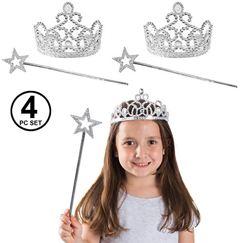 Funny Party Hats Princess Crowns - Tiaras and Wand for Girls - Princess Accessories - Princess Dress Up - 4 Pack