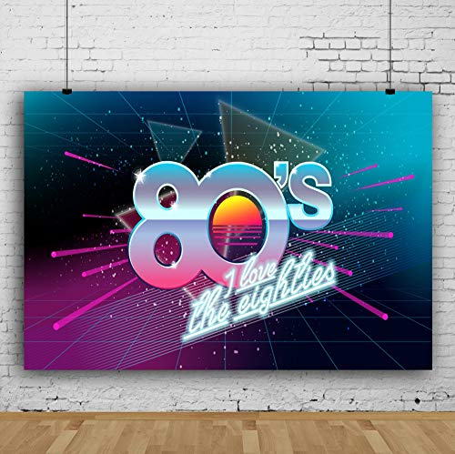 AOFOTO 8x6ft 80s Party Backdrops for Wall Retro 3D Space 80's Theme Birthday Party Decorations I Love You The Eighties Recall Background for Photography Class Reunion Events Photo Studio Props -