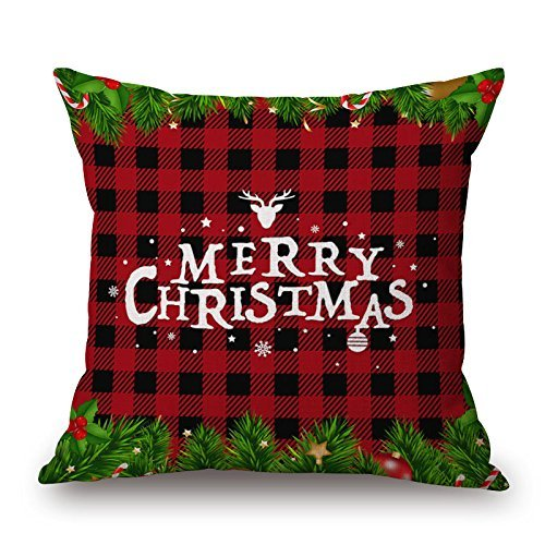 Dinbmo Merry Christmas Xmas Gift Cotton Linen Pillow Cover Case Square Burlap Decorative Throw Pillowslips Cushion Pillowcases with Christmas Tree Snowman Red Car Bell-Pattern 11