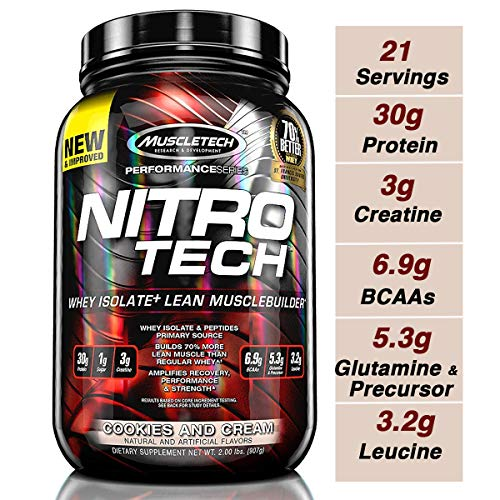 - MuscleTech NitroTech Protein Powder Plus Muscle Builder, 100% Whey Protein with Whey Isolate, Cookies & Cream, 20 Servings (2lbs)