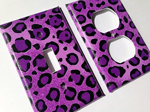Purple Leopard Light Switch Plate Cover -All Sizes Offered