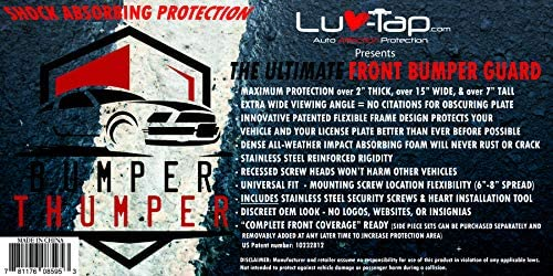 2021 License Plate Frame Luv-Tap Bumper Thumper Ultimate Complete Coverage Front Bumper Guard Shock Absorbing Flexible License Plate Frame