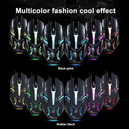 Color : Black Length: 1.45m HUFAN V17 USB 2400DPI Four-Speed Adjustable Line Pattern Wired Optical Gaming Mouse with LED Breathing Light Black