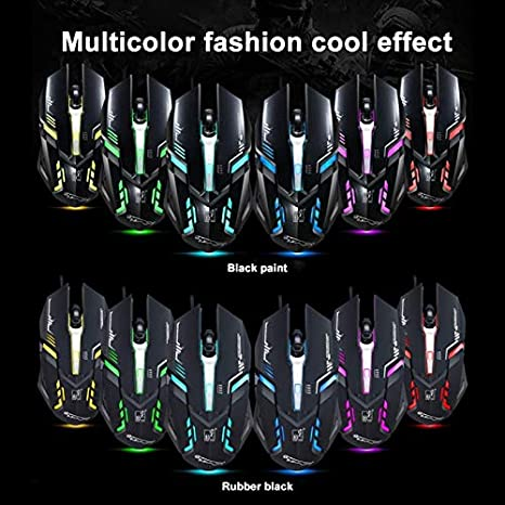 1.45m Color : White Length V17 USB 2400DPI Four-Speed Adjustable Line Pattern Wired Optical Gaming Mouse with LED Breathing Light