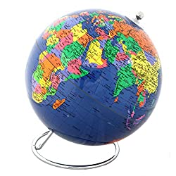Lily's Home Political World Globe With Stand - 8 Inch Diameter