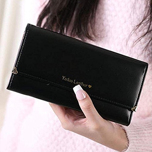 Women wallets Wallet cute Noopvan wrist Leather Elegant Gift wallet Bags Wallet PU Clutch Black Clearance 2018 Purse Long Ovwtq6vnW