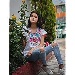 """Blusa Negra/Blanca con bordado artesanal multicolor""""Kimona"""""""