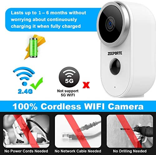 Security Camera Outdoor, 1080P HD Wireless Rechargeable Battery Powered WiFi Home Surveillance Camera with Waterproof, Night Vision, Motion Detection, 2-Way Audio and SD Storage