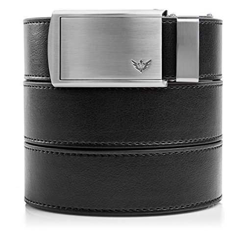 - SlideBelts Men's Vegan Leather Belt without Holes - Winged Silver/Black Leather (Trim-to-fit: Up to 48