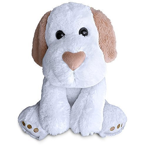 Heart Nosed Dog by Build A Furry Friend. Cuddly Soft White Plush 16 Inch Stuffed Animal. Handmade quality. Includes stuffing, star-heart  birth cert….