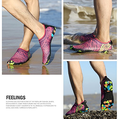 la Saguaro Nadada la la Rosa Skin Resaca Playa Descalzo acuático Aqua de Shoes de Yoga Calcetines para Roja 4 de de qOqfp