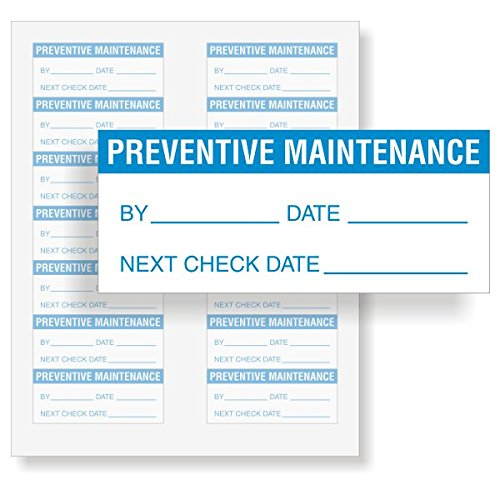 Preventive Maintenance: By/Date/Next - Blue, Write-On Vinyl Label, 140 Labels/Pack, 1.5'' x 0.625'' by QCLabels