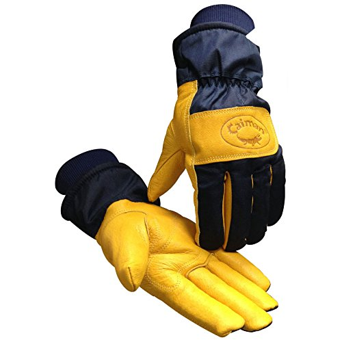 Caiman 1354-4 Heatrac Insulated Gloves Gold Pig Grain with Combo Cuff, Medium