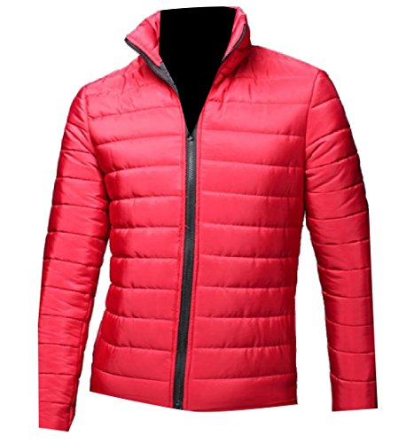 Down Long Slim Red Outwear Jacket Warm Solid Men's Quilted Sleeve AngelSpace wq8pO