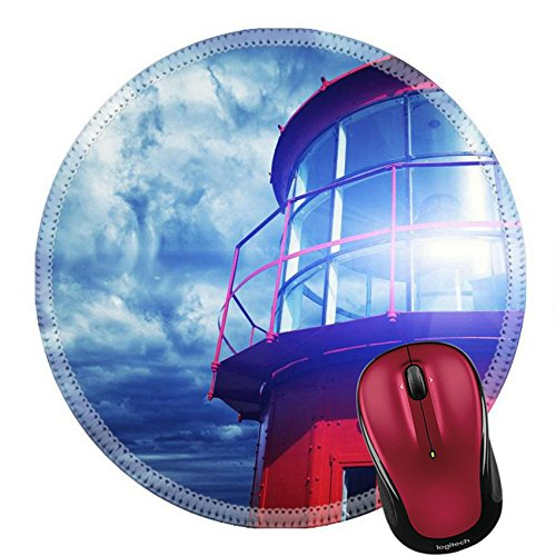 Lighthouse Historic Lamp (Liili Round Mouse Pad Natural Rubber Mousepad Lighthouse against stormy sky IMAGE ID 13679953)