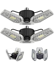 LZHOME 2-PACK LED Garage Lights, 6500Lumens Adjustable Trilights Garage Ceiling Light ,60W LED Garage Ceiling Light, CRI 80, 5000k Nature light, Garage Lights with Adjustable Panels, Led shop light (No Motion Activated)