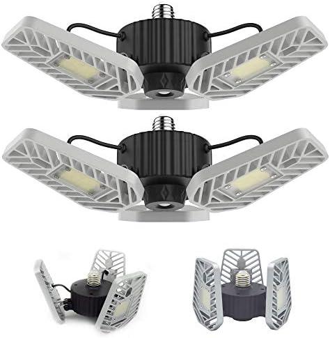 LZHOME 2-PACK LED Garage Lights, 6500Lumens E26/E27 Adjustable Trilights Garage Ceiling Light ,60W LED Garage Light, CRI>80, 5000k Nature gentle,Garage Lights with Adjustable Panels(No Motion Activate)
