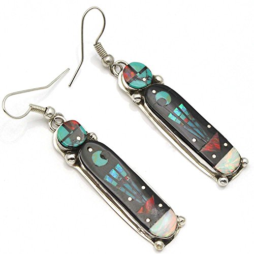 Intricately Inlayed Earrings by Gilbert (Smith Turquoise Earrings)