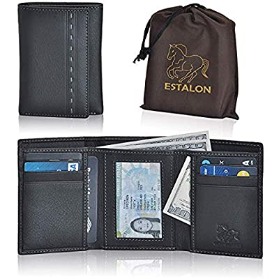RFID Leather Trifold Wallets for Men - Handmade Slim Mens Wallet 6 Credit Card ID Window and Gift Box Secure by Estalon