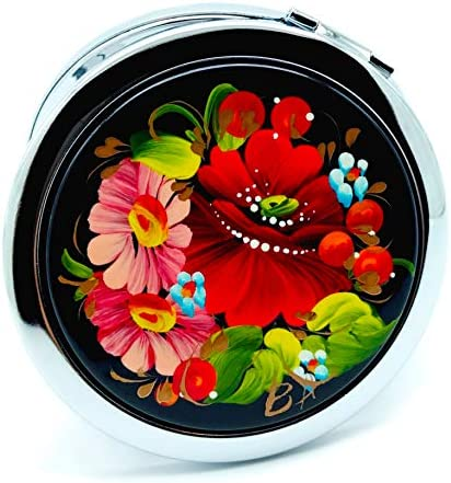 Petrykivka Ethnic Floral Design Hand Painted in Ukraine Round Cosmetic Makeup Double-Sided Pocket Mirror for Purses and Handbags, Small and Unique Gift for Women, Quality Metal and Wood Rose Flowers