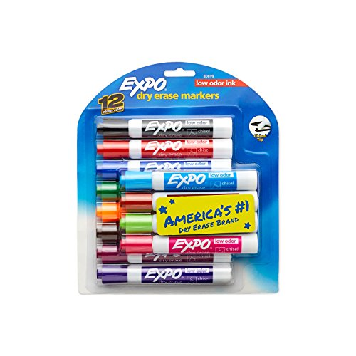 EXPO Low Odor Dry Erase Markers, Chisel Tip, Assorted Colors, 12 Count (Tip Expo Bullet)