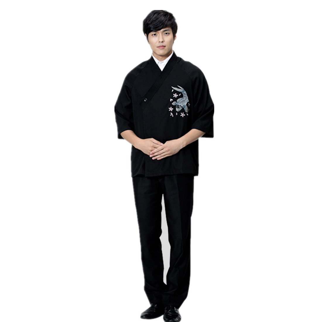 ChefsUniforms Mens Japanese Black Sushi Chef Coat With Embroidery Pattern For Restaurant