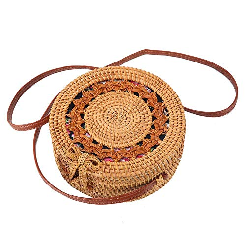 Ainico Handwoven Rattan Round Bag Shoulder Leather Straps for Outdoor Leisure (Classic ()