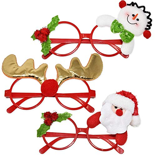 Gift Boutique 6 Christmas Eye Glasses Frames Holiday Novelty Eyewear for Merry Christmas Photo Booth Props Costume Party Favor Supplies Accessories Decor Reindeer Santa & Snowman for Adults & Kids