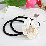 Pyrsun(TM) New Arrival Korea Style Hair Accessories Shell Flower Gum For Fair For Female Rhinestone Rubber bands Women Elastic hair bands