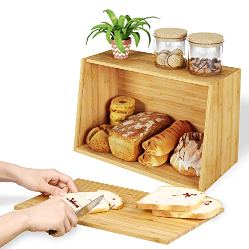 - Homfa Bamboo Bread Boxes with Cutting Board Lid Easy-opening Food Storage Container, BPA-free Breathable Bread keeper for Kitchen Counter, 15
