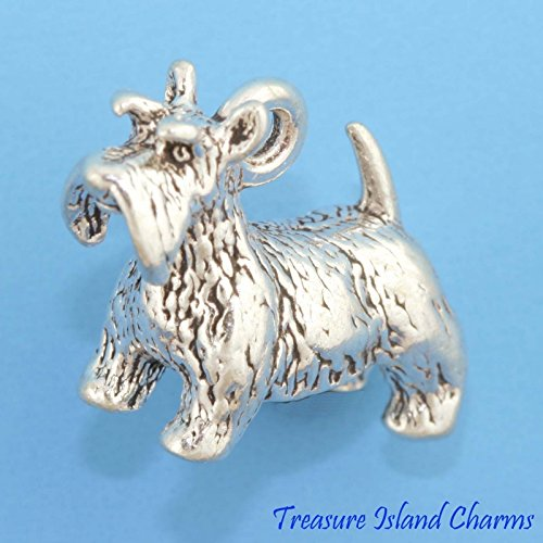(Scottish Terrier Scottie Dog 3D .925 Solid Sterling Silver Charm New Ideal Gifts, Pendant, Charms, DIY Crafting, Gift Set from Heart by Wholesale Charms)