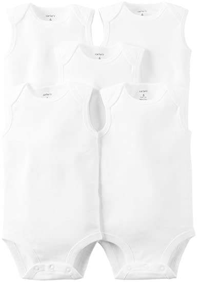 Carter's Baby White 5 Pack Bodysuits, Sleeveless, Newborn