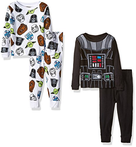 Disney Star Wars Toddler Boys' 4-Piece Pajama Set, Black, 3T