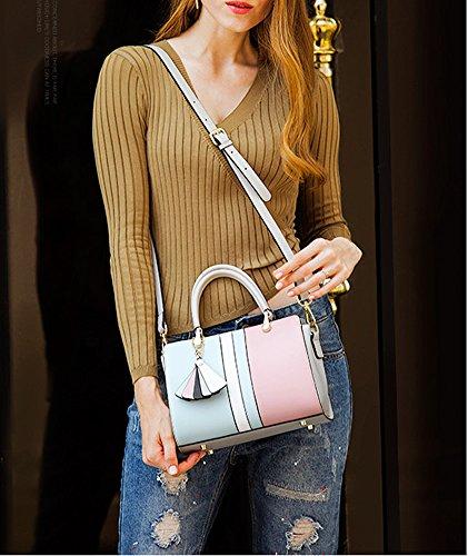 Shoulder Pockets Handbags Multiple Dissa Leather Bluepink Q0935 Bag Women Hard y6aafvABq