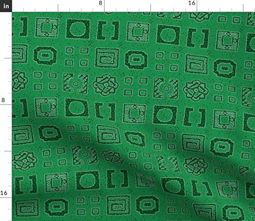 Abstract Hedge Fabric - Hedgie Aerial Summer Green Trees Geometric Garden Leaf Emerald English Topiary Print on Fabric by the Yard - Basketweave Cotton Canvas for Upholstery Home Decor Bottomweight