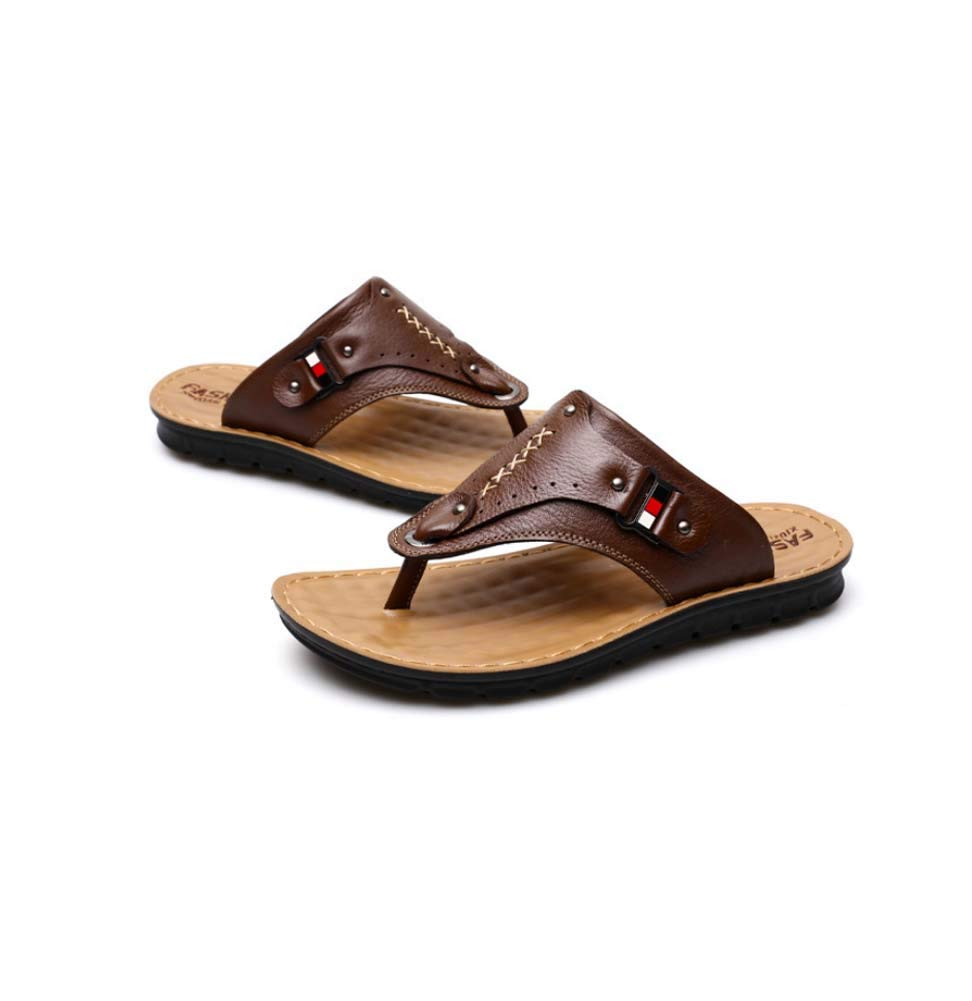 23f53eedf4fc4 Amazon.com: GHFJDO Men Flip Flops,Leather Sandals,Arched Support ...