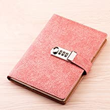 JunShop Password Notebook Student Diary Password With Lock Line Loaded Diary Portable Creative Notepad Size 21x15 CM (Pink)