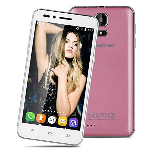 LANDVO V1 4.5 Zoll 3G Smartphone Android 5.1 Quad Core 1.3GHz Handy ohne Vertrag 512MB RAM+4G ROM Dual Kamera Smart Wake Gesture Sensing GPS Rosa